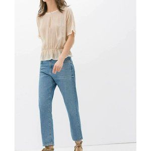 ZARA Woman Blue Denim Mid Rise Relaxed Girl Friend